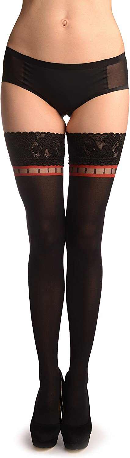 Black With Red Squares Top And Floral Silicon Garter - Stay - Up Thigh High