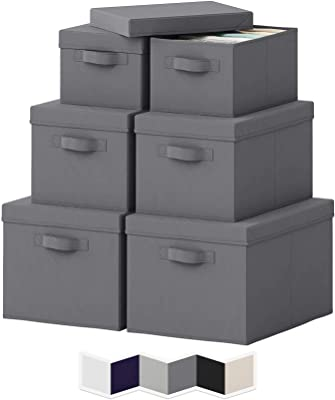 NEATERIZE Pack of 6 Storage Bins - Durable Storage Bins with Lids for Closet Storage Baskets - Portable Toy Box Baskets for Organizing - 2 Small 2 Medium 2 Large Storage Boxes with Lid - (Grey)