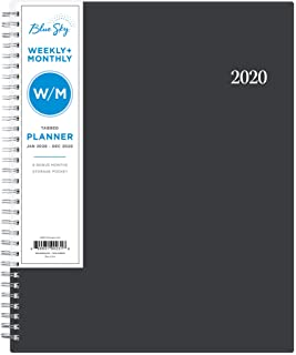 """Blue Sky 2020 Weekly & Monthly Planner, Flexible Cover, Twin-Wire Binding, 8.5"""" x 11"""", Passages"""