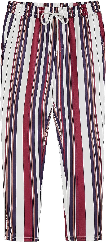 Romwe Men's Striped Elastic Waist Popular Mid Wa Slant Pocket Drawstring List price