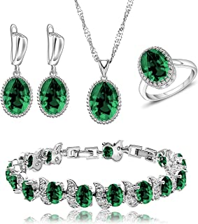 LMXXVJ Women Wedding Jewelry Set Red Birthstone Necklace Ring Earrings Bracelet Set Bridal Anniversary Festival Jewelry fo...