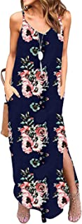 Women's Summer Casual Loose Dress Beach Cover Up Long Cami Maxi Dresses with Pocket