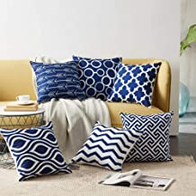 AEROHAVEN Satin Decorative Throw Pillow/Cushion Covers (16 x 16 inch or 40cm *40cm) Blue - Set of 6