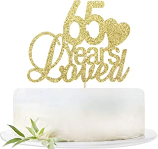Glitter Gold 65 Years Loved Cake Topper-65th Birthday Wedding Party Decorations Supplies-Sixty-five Birthday or Wedding Party Sign.