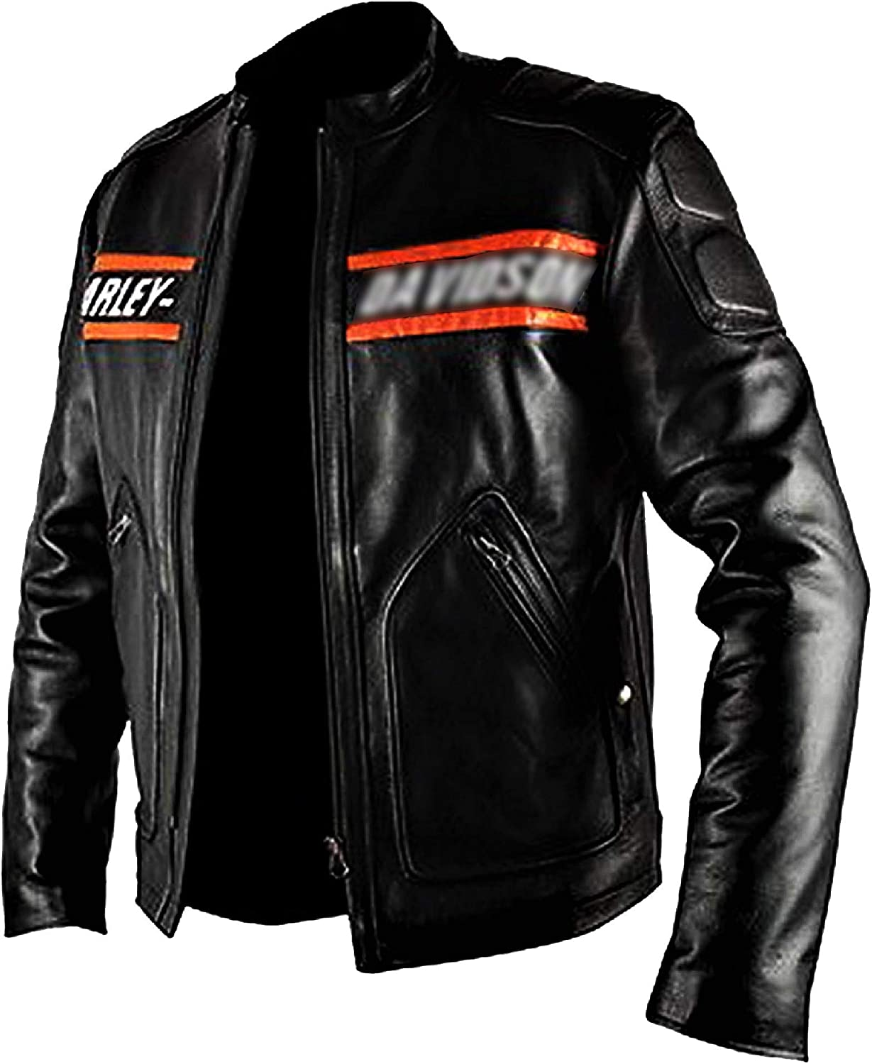 HD Bill Goldberg Men's Black Motorbike Cowhide Leather Jacket With Patches