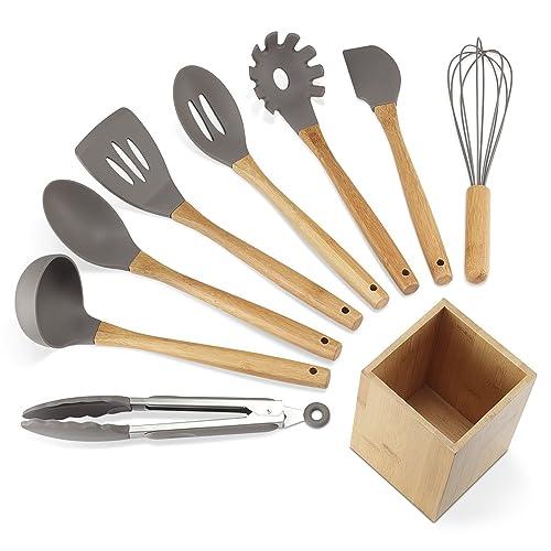 NEXGADGET Lot Ustensiles de Cuisine en Silicone et Bambou 9 Pièces Set Ustensiles de Cuisines Antiadhésif Ensemble Accessoires de Cuisine pour la Cuisson et Patisserie Support en Bambou Inclus