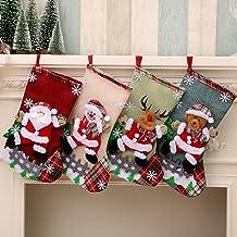Christmas Stockings Set of 4 Hanging Stockings for Fireplace,Xmas Tree, Seasonal Decor Sock Gift Bag Candy Pouch Bag, Chri...