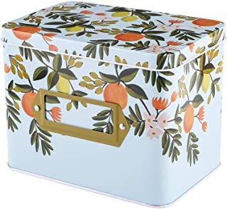 Yesland Recipe Box - 6.25 x 4.25 x 5 Inches Decorative Tin Box with Orange Patern - Gift Box for Keeping Recipe Card & Div...