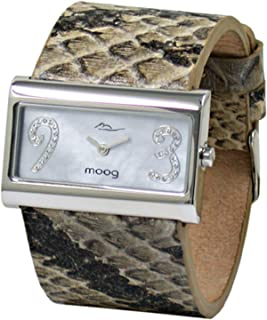 Moog Paris Wild Origin Womens Watch with Gray Mother of Pearl Dial, Gray Genuine Leather