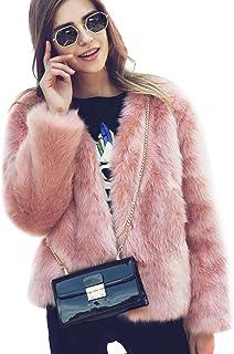 30d896828135 Samber Chaqueta Corta de Piel Faux Abrigo con Manga Larga para Mujer de  Invierno