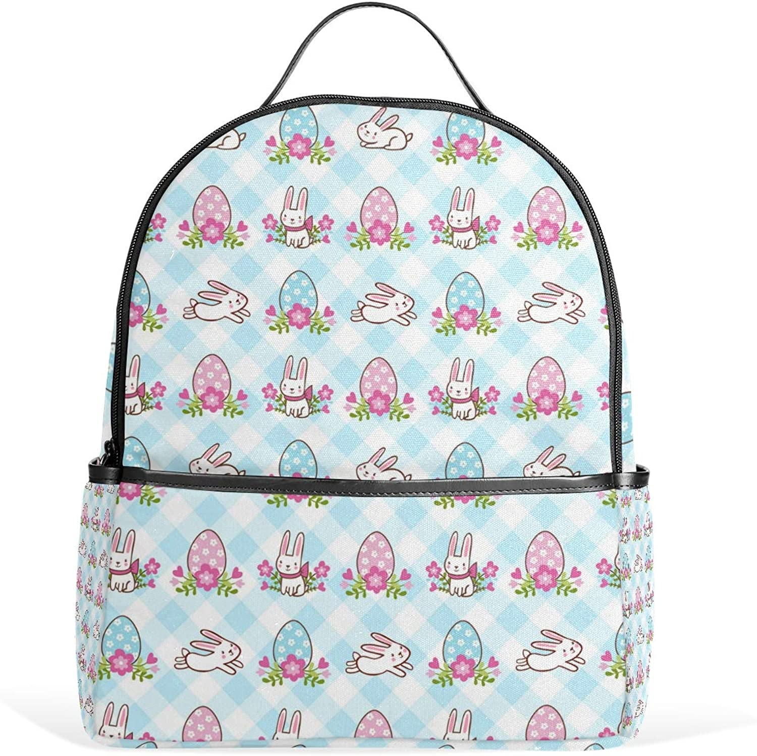 c57030d0a Fashion Backpack Easter White Bunnies and Eggs blueee Small Satchels  Daypacks Travel Shoulder Bag Rucksack for