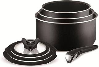 Tefal Ingenio Essential Non-stick Saucepan Set, 7 Pieces - Black