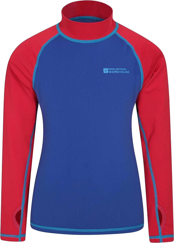 Asciugatura Rapida Rash Guard con Protezione UV Mountain Warehouse Rash Vest per Bambini Maglia a Maniche Lunghe per Bambini Cuciture Piatte Elasticizzata Nuoto