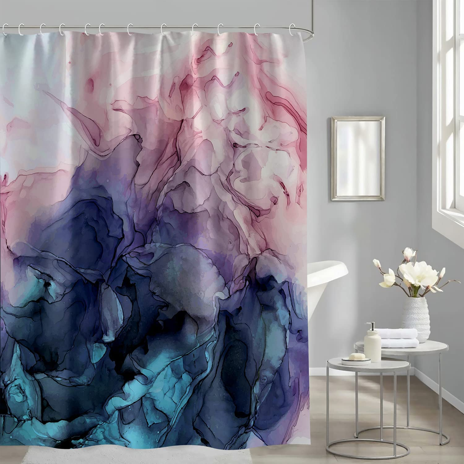 Abstract Shower Curtain Blush and Atlanta Max 86% OFF Mall Pastel Blue Ombre Ink