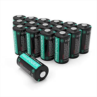 CR123A 3V Lithium Batteries RAVPower Non-Rechargeable Battery, 1500mAh Each, 16-Pack, 10 Years of Shelf Life for Polaroid, Microphones, Flashlight, Arlo Cameras [CAN NOT BE RECHARGED]