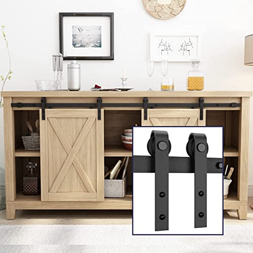"""popular SMARTSTANDARD discount 5FT Super Mini Double Door Cabinet Sliding Barn Door Hardware Kit -Smoothly and Quietly -for TV Stand, Closet, Window -Fit 15"""" Wide wholesale Door Panel -J Shape Hanger (NO Cabinet) online"""