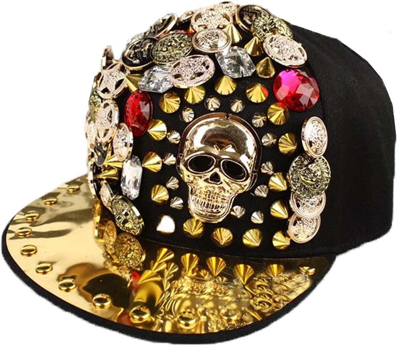 FTSUCQ Womens Mens Skull Rivet Sunshading Cowboy Hat HipHop baseball Cap