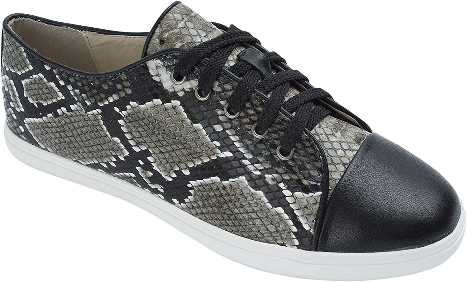 Sweet Holic Womens Python Embossed Low Top Casual Sneaker