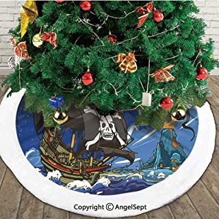 Caribbean Waters Adventure Time Volcano Explosion Sea Storm Skull Island Jolly Roger,Christmas Tree Skirt Mat,Color,36 inches,Merry Christmas for Party and Holiday