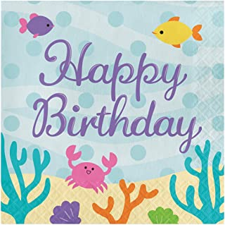 Creative Converting 16-Count Paper Lunch Napkins, Happy Birthday, Mermaid Friends, 6.5 x 6.5-inch, Multicolor