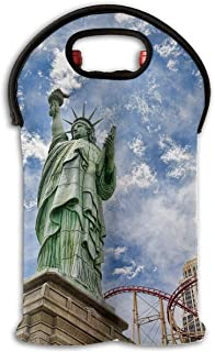 Wine Tote Carrier Bag Statue of Liberty New York Purse for Champagne,Water Bottles