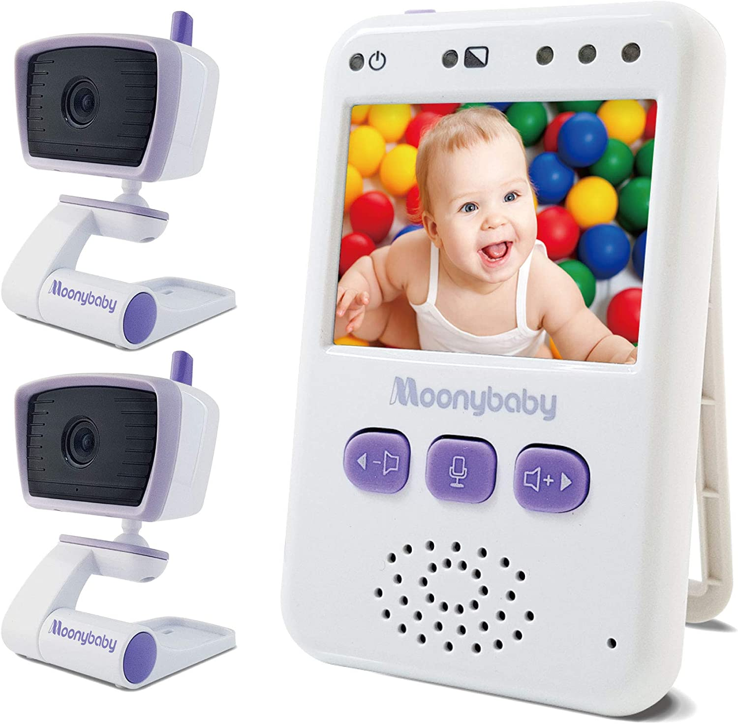 Moonybaby Long Range No WiFi Baby Monitor, 2 Cameras and one Monitor, Auto Night Vision, 2 Way Talk Back, Zoom in, Power Saving and VOX, Value 100-2