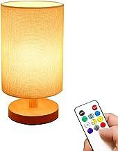 YUNYODA USB-nachtkastlamp, bedlamp met USB-oplaadpoort/afstandsbediening, ingebouwde USB-voedingskabel, linnen slaapkamerl...