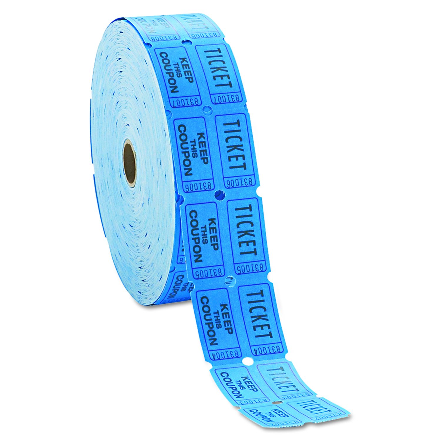 INDIANA TICKET CO. Consecutively Numbered Double Ticket Roll, Blue, 2000 Tickets per Roll