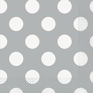 مناديل ورقية منقطة فضية اللون، 16 قطعة