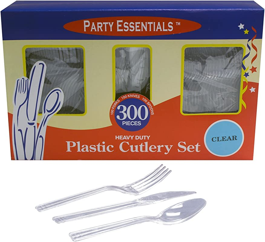 Party Essentials Heavy Duty Plastic Cutlery Box Set With Full Size Knives Forks Spoons Clear 100 Place Setting Count