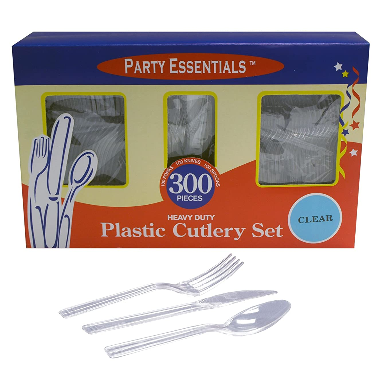 Party Essentials Heavy Duty Plastic Cutlery Box Set with Full Size Knives/Forks/Spoons, Clear, 100 Place Setting-Count