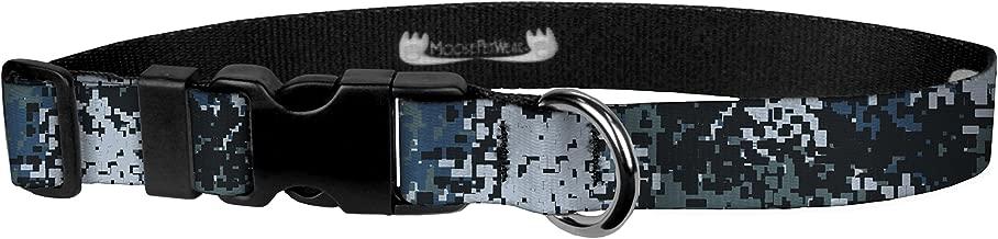 """Moose Pet Wear Deluxe Adjustable Collar, 1"""" Large, Digi Camo Blue"""