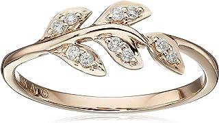 Amazon CollectionAnillo de oro rosa de 10 quilates con diseño de hoja de diamante (1/12 quilates, I-Jcolor, claridad I2-I...