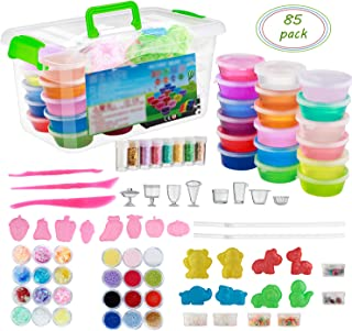 EKOOS 85 pcs DIY Slime Kit Supplies for kids develop intelligence and hands-on skills, includes color slime sugar paper glitter Jars fishbowl beads foam beads fruit mould animal mould pearl charms str