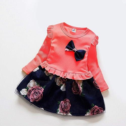 QMQ Spring Autumn Printed Toddler Girls Dress Red 2 3 Years