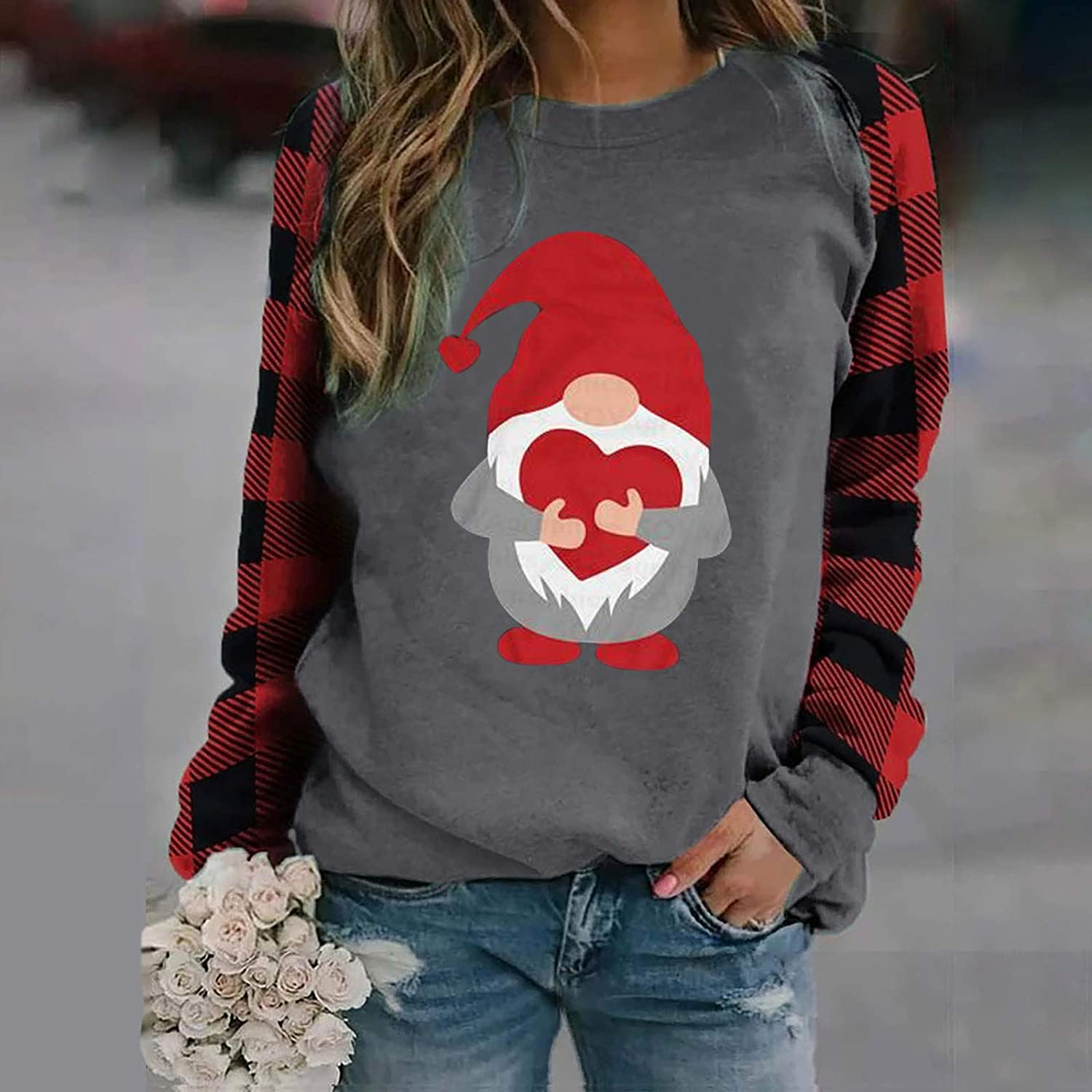 COOKI Women Sweatshirts Womens Christmas Cute Funny Snowman Graphic Pullover Tops Long Sleeve Sweater Shirts