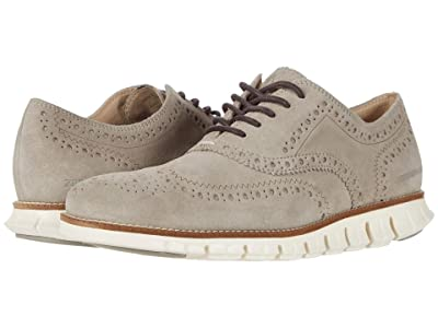 Cole Haan Zerogrand Wing Tip Oxford (Gray Suede/Ivory) Men