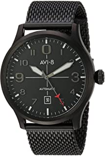 AVI-8 Men's Flyboy Japanese-Automatic Aviator Watch with Stainless-Steel-Plated Strap, Black, 22 (Model: AV-4021-44)
