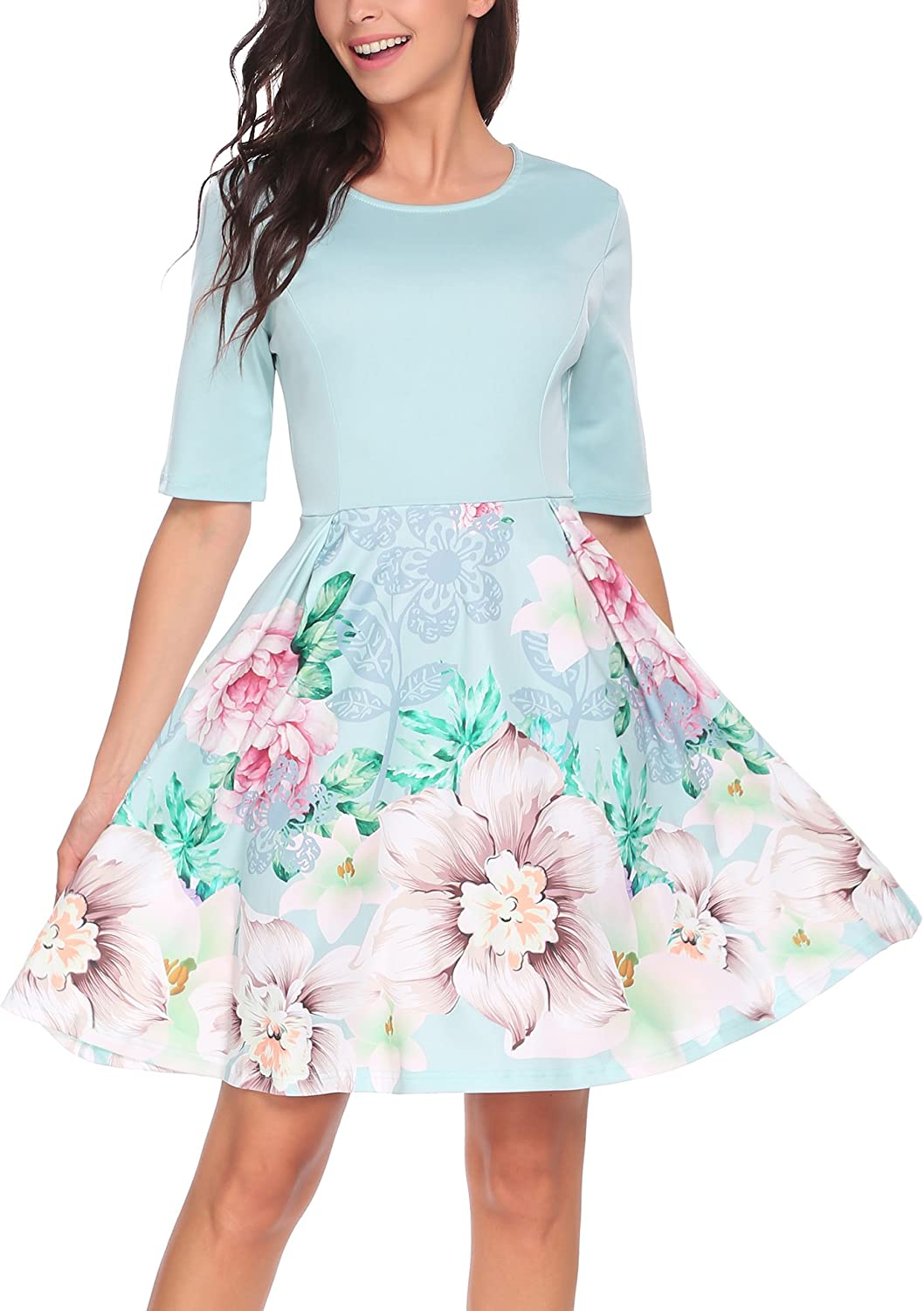 BEAUTYTALK Women's Vintage Patchwork ONeck Half Sleeve Puffy Swing Casual ALine Party Dress