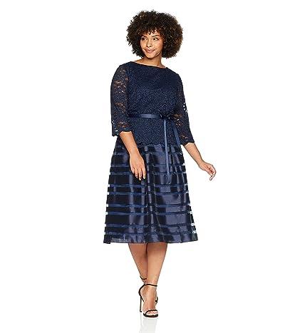 Alex Evenings Plus-size Tea Length A-line Dress With Tie Belt