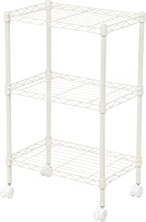 IRIS 3-Tier Wire Shelf with Casters, White