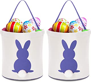 Zhanmai 2 Pieces Easter Bunny Bags Canvas Egg Basket Rabbit Bag for Carrying Eggs Candies and Gifts (Purple)