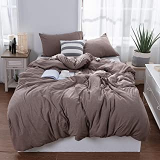 LIFETOWN Jersey Knit Cotton Duvet Cover Set Super Soft Comfy 3 Pieces Solid Pattern Bedding Set 1 Duvet Cover and 2 Pillowcases (Full/Queen, Dark Coffee)