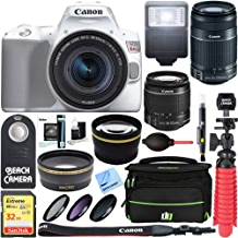 $799 Get Canon EOS Rebel SL3 4k DSLR Camera (White) w/EF-S 18-55mm & 55-250mm is STM Lens + Accessory Bundle 32GB SDHC Memory + SLR Photo Bag + Wide Angle Lens + 2X Telephoto Lens + Flash + Remote & More