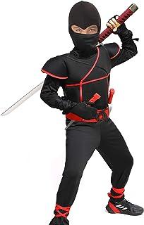 Heay Ninja Costume for Boys Halloween Costume Kids Ninja Cosplay with Mask Black M