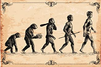 Human Evolution Concept Vintage Illustration Cool Wall Decor Art Print Poster 18x12