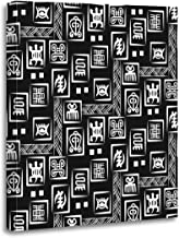 Emvency Canvas Wall Art Print African Adinkra Black and White Digital Ritual Symbols Screen Artwork for Home Decor 16 x 20 Inches