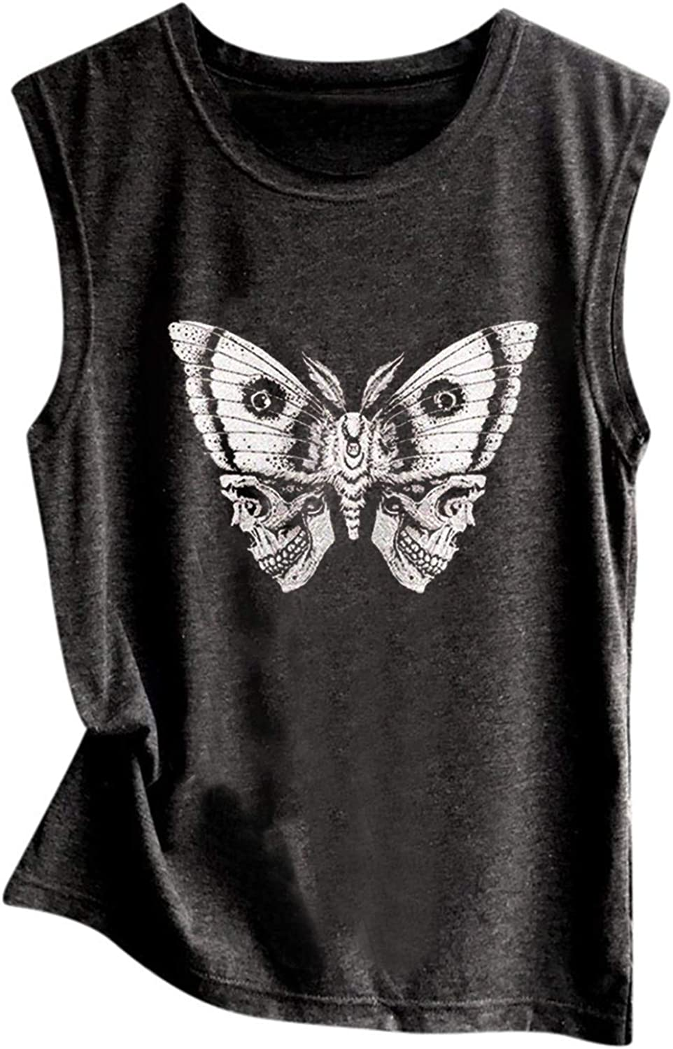 ORT Womens Tank Top, Vintage Tees Rose/Lion/Skull Print Sleeveless Loose Fit T-Shirts Casual Summer Beach Workout Blouses