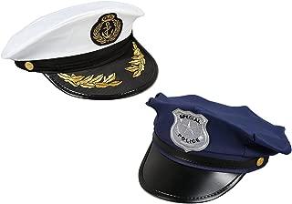 Juvale Costume Headwear - Police, Sea Captain Hats, Pretend Play - 2 Pc Set