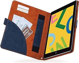 エレコム iPad 10.2 (2019) ケース フラップケース ソフトレザー フリーアングル ツートン ネイビー×ブラウン TB-A19RPLFDTNV